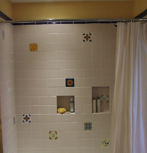 Beautiful Mexican tile  accents chosen by the customer.